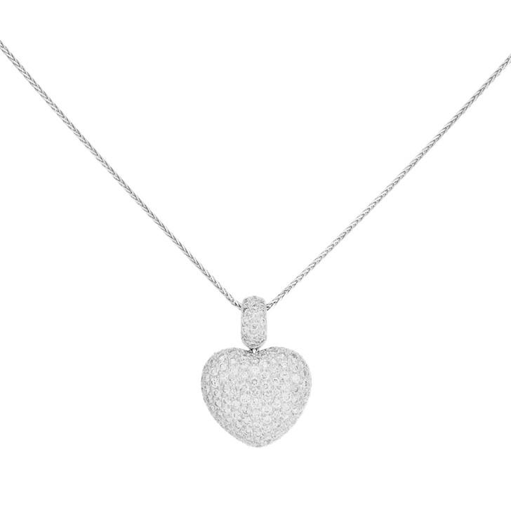 18K White Gold 2.55 Carat Diamond Heart Pendant