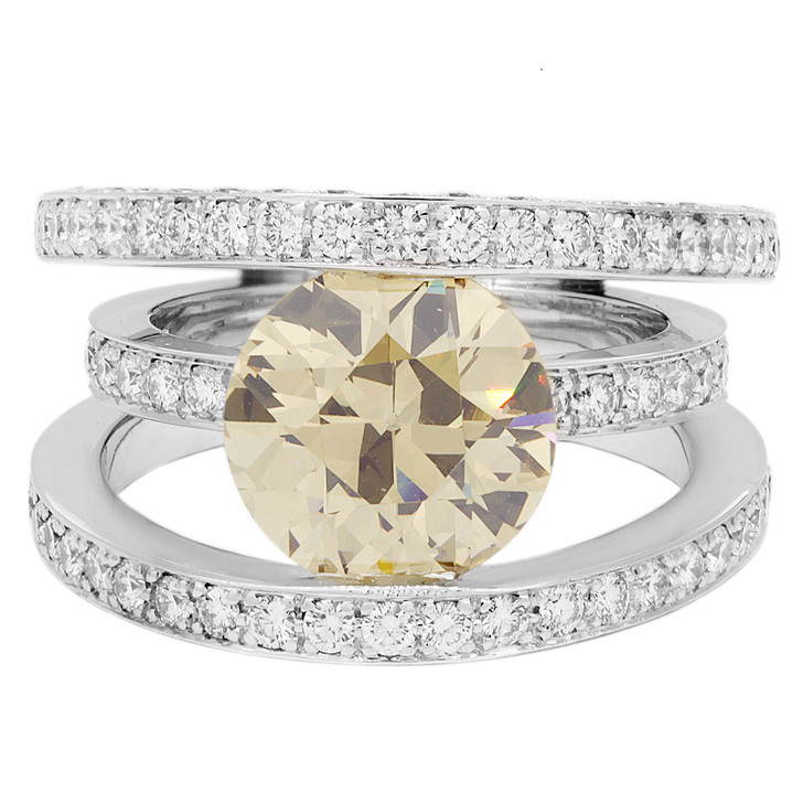 18K White Gold 3.14 Carat Fancy Yellow Diamond Ring