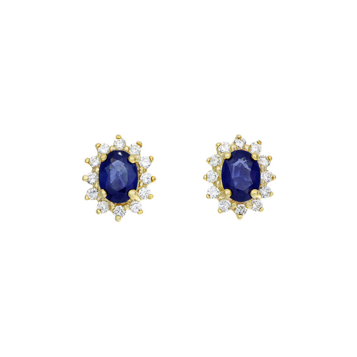14K Yellow Gold 2.20 Carat Sapphire Diamond Earrings