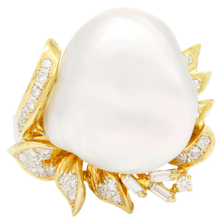 18K Yellow Gold Baroque South Sea Pearl Ring