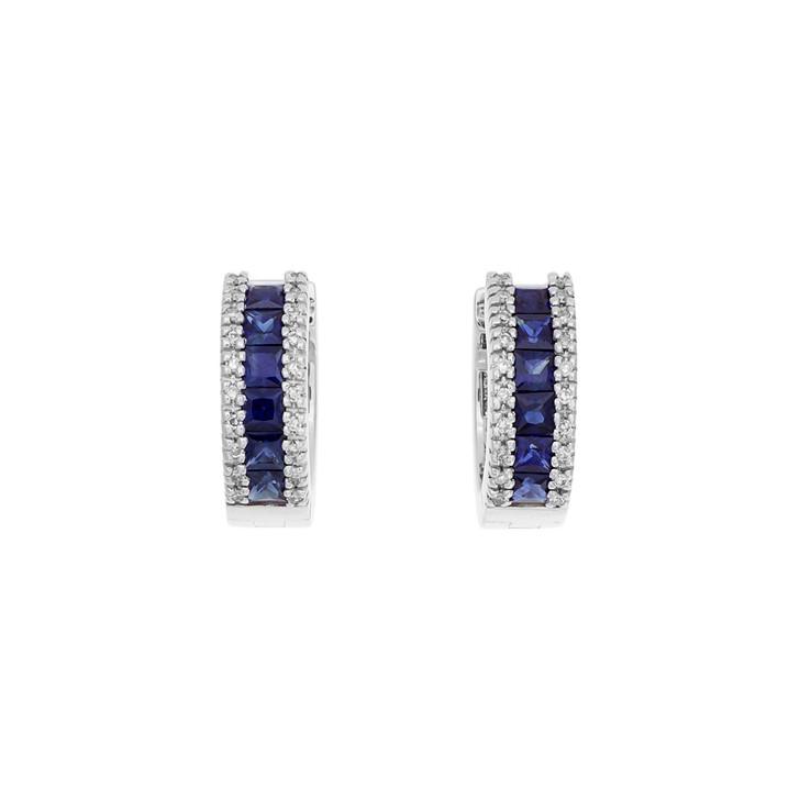 14K White Gold 1.55 Carat Sapphire Diamond Hoop Earrings
