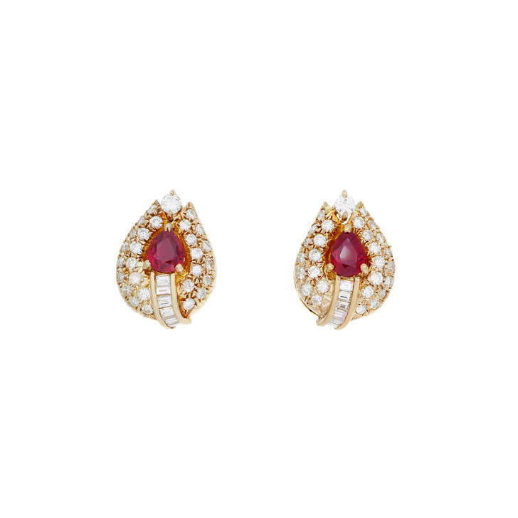 18K Yellow Gold 0.54 Carat Ruby & Diamond Earrings