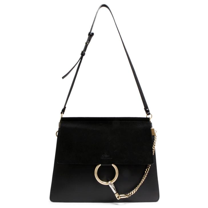 Chloe Black Calfskin & Suede Medium Faye Shoulder Bag