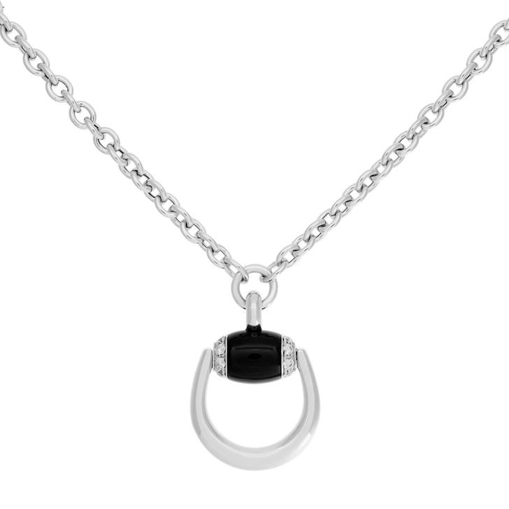 Gucci 18K White Gold, Diamond & Onyx Horsebit Pendant Necklace
