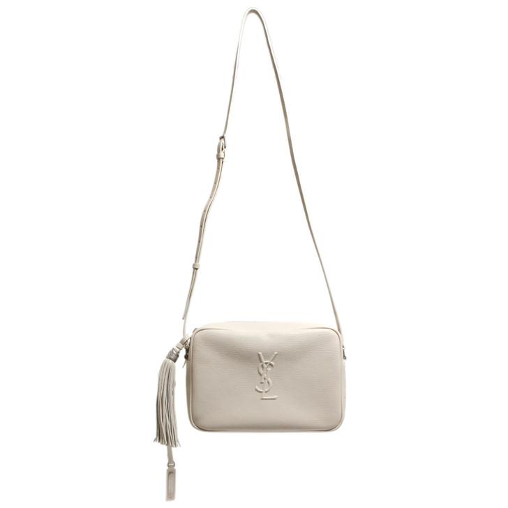 Saint Laurent Ivory Calfskin Lou Camera Bag