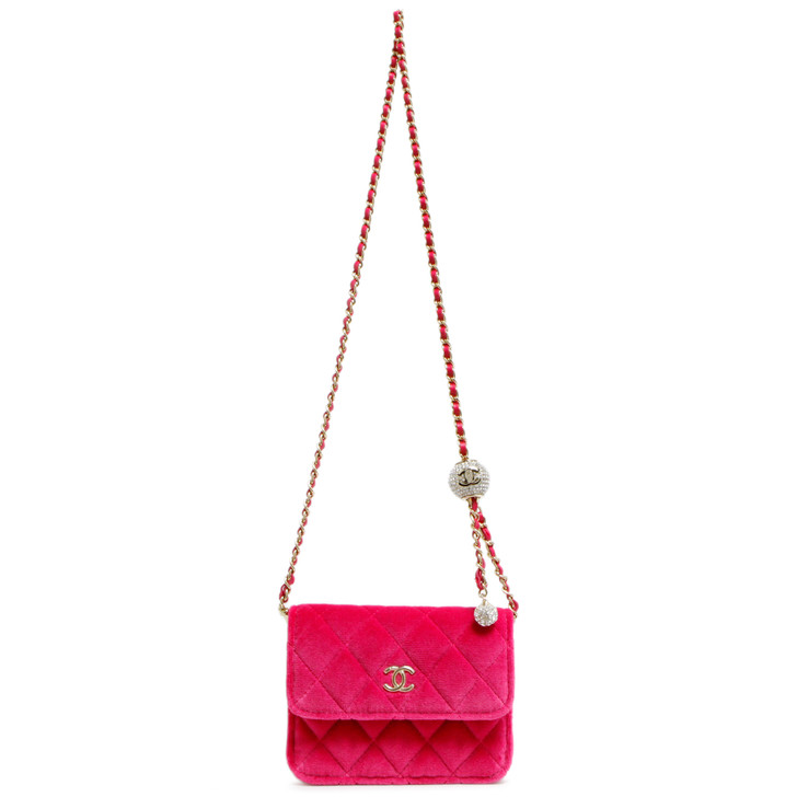 Chanel Pink Velvet Pearl Crush Clutch With Chain