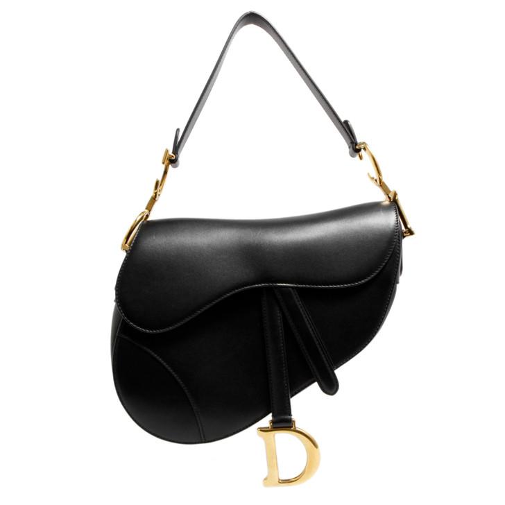 Christian Dior Black Smooth Calfskin Saddle Bag