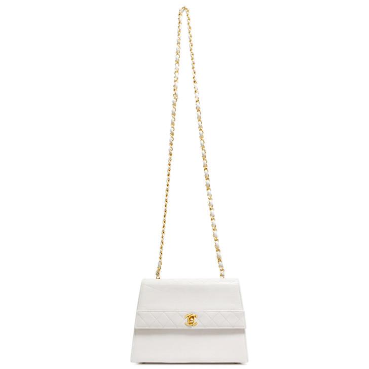 Chanel White Calfskin Vintage Flap