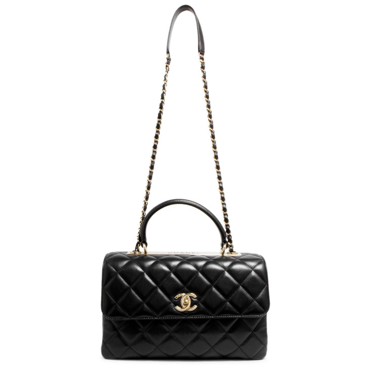 Chanel Black Quilted Lambskin Medium Trendy CC Top Handle Flap Bag