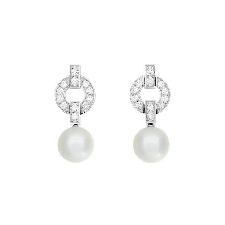 Cartier 18K White Gold Akoya Pearl & Diamond Himalia Earrings