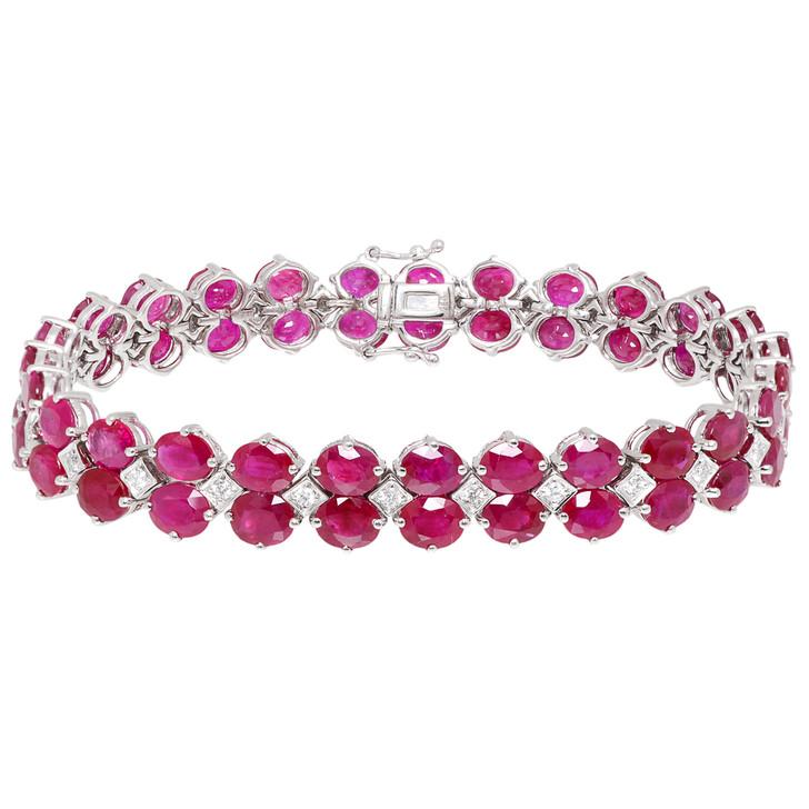18K White Gold 27.00 Carat Ruby Diamond Bracelet