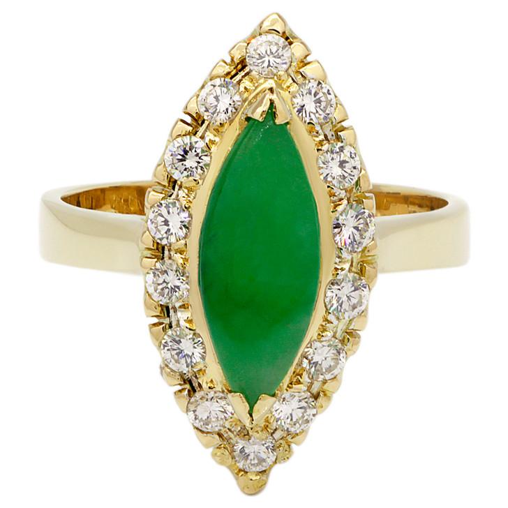 18K Yellow Gold Burmese Jade Diamond Ring