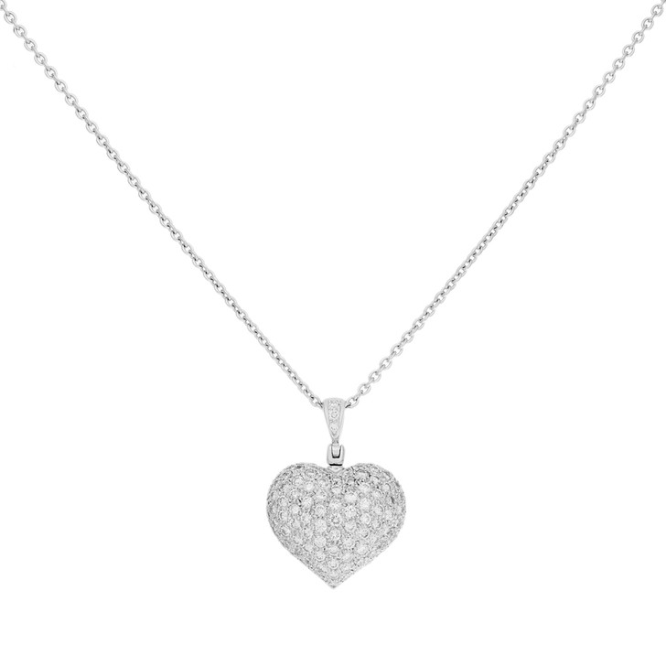 18K White Gold 2.00 Carat Diamond Heart Pendant Necklace