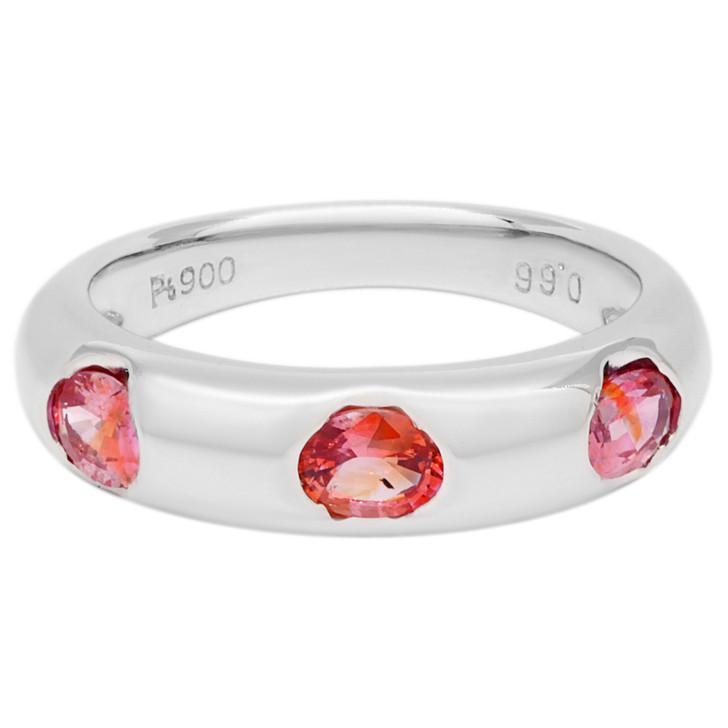 Platinum 0.66 Carat Orange/Pink Sapphire Ring
