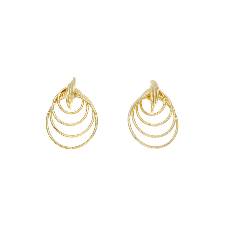 14K Yellow Gold Hammer Finished Hoop Earrings
