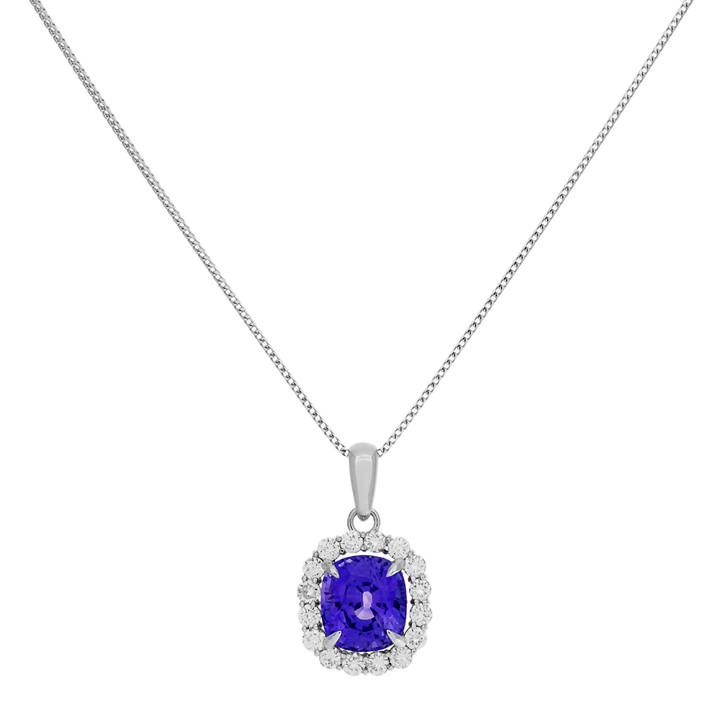 18K White Gold 8.72 Carat Purple Sapphire Diamond Pendant Necklace