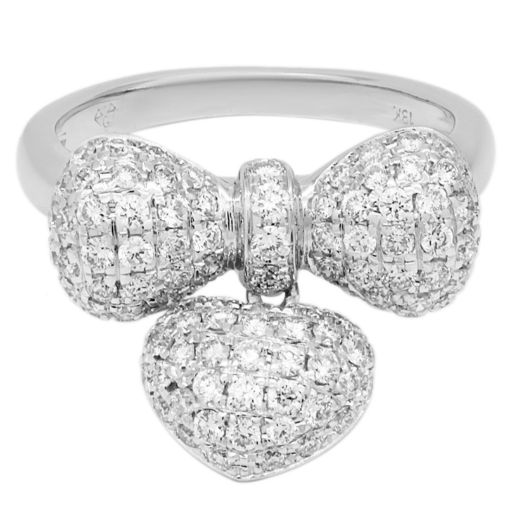 18K White Gold 1.32 Carat Diamond Bow Ring