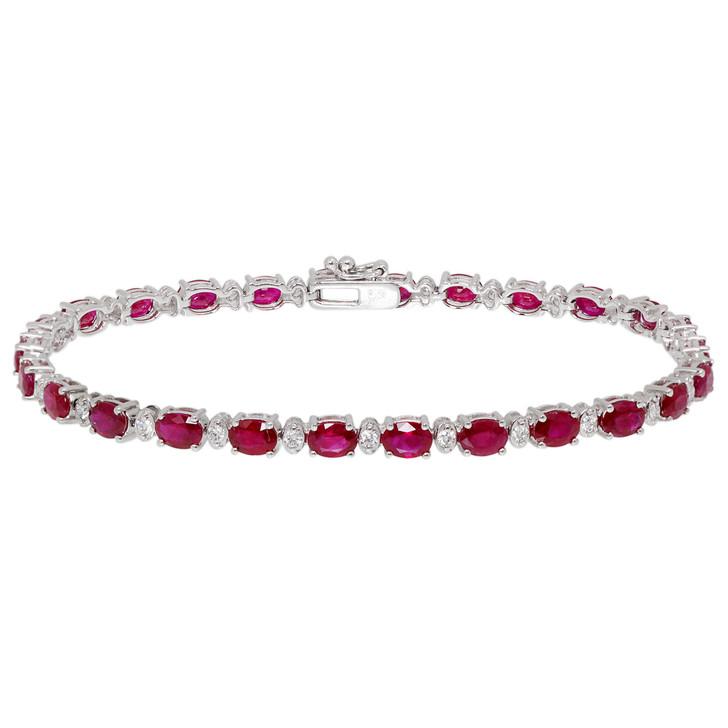 18K White Gold 5.72 Carat Ruby & Diamond Bracelet