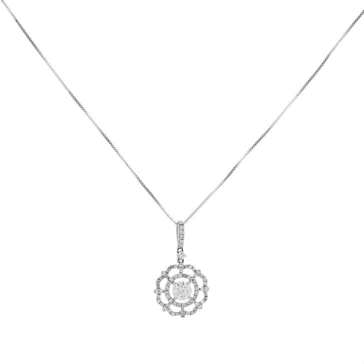 14K White Gold 0.64 Carat Diamond Pendant