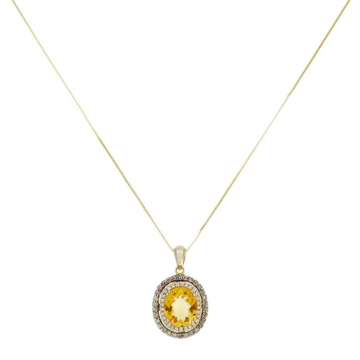 14K Yellow Gold 3.45 Carat Citrine & Diamond Pendant Necklace