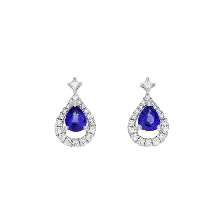 18K White Gold 0.80 Carat Sapphire & Diamond Earrings