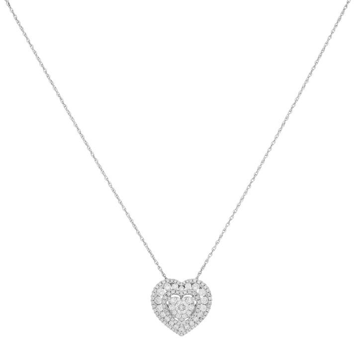 18K White Gold 1.04 Carat Diamond Heart Pendant Necklace