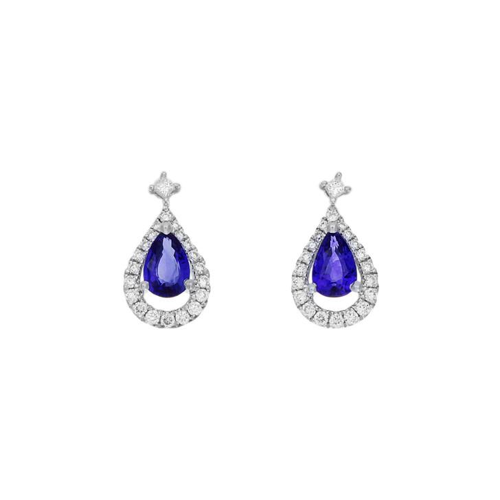 18K White Gold 1.03 Carat Sapphire & Diamond Earrings