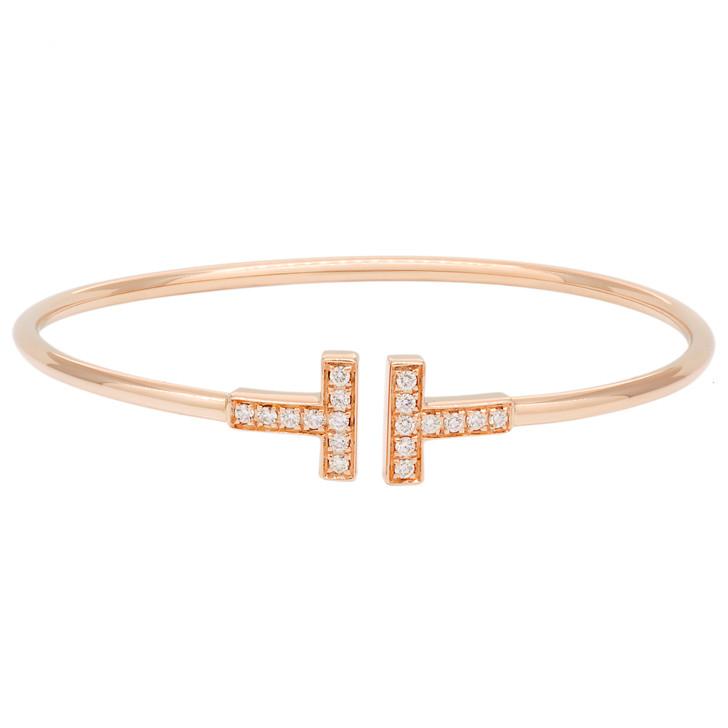 Tiffany & Co. 18K Rose Gold & Diamond T  Wire Bracelet