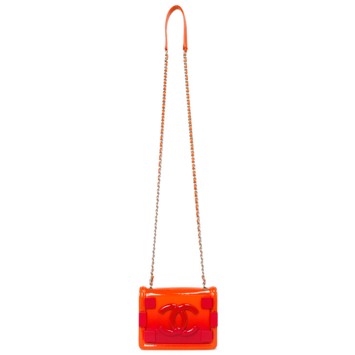 Chanel Red/Orange Plexiglass Boy Brick Flap