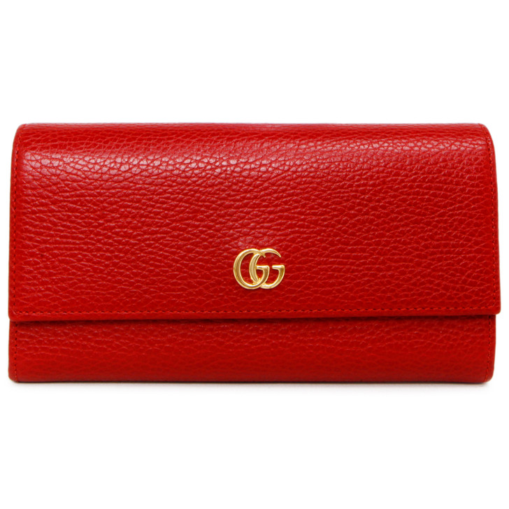 Gucci Hibiscus Red Calfskin GG Marmont Continental Wallet