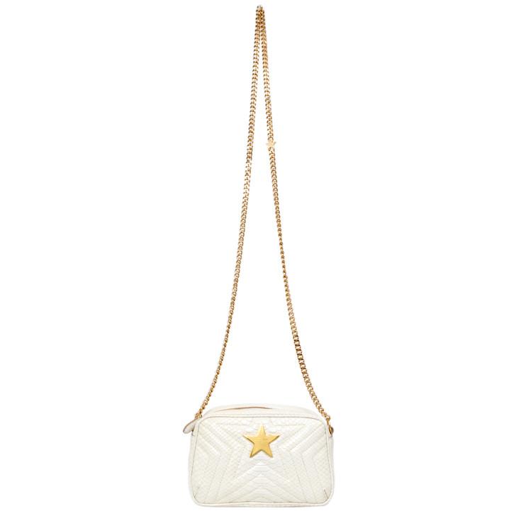 Stella McCartney Ivory Snakeskin Effect Star Patch Shoulder Bag