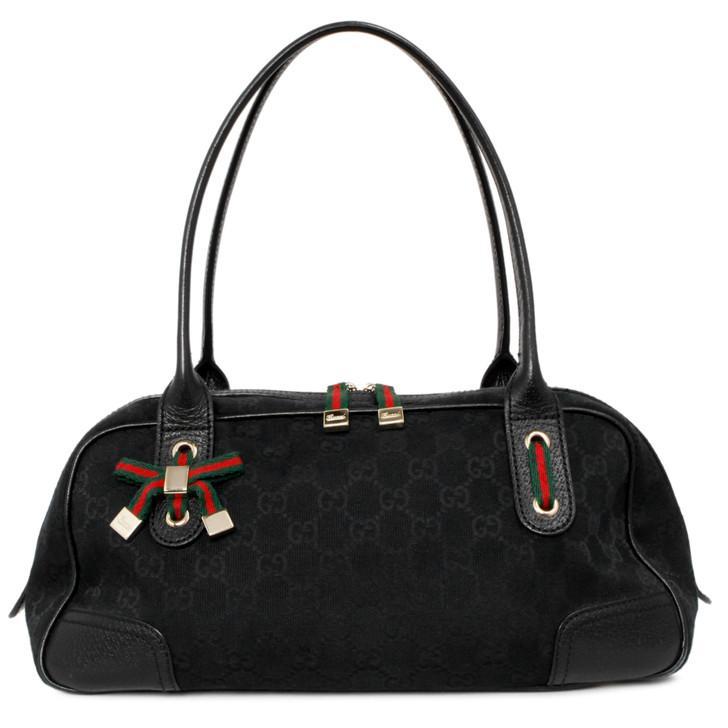 Gucci Black Monogram Canvas Princy Boston Bag