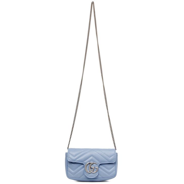 Gucci Blue Matelasse Calfskin Super Mini GG Marmont