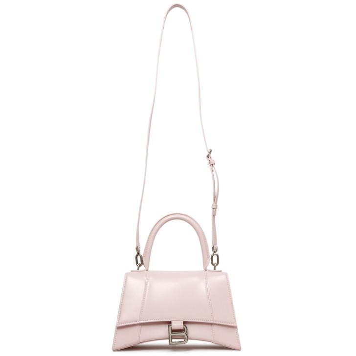 Balenciaga Light Rose Shiny Box Calfskin Small Hourglass Top Handle Bag