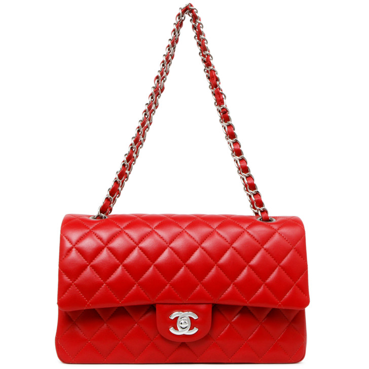 Chanel Red Quilted Lambskin Medium Classic Double Flap