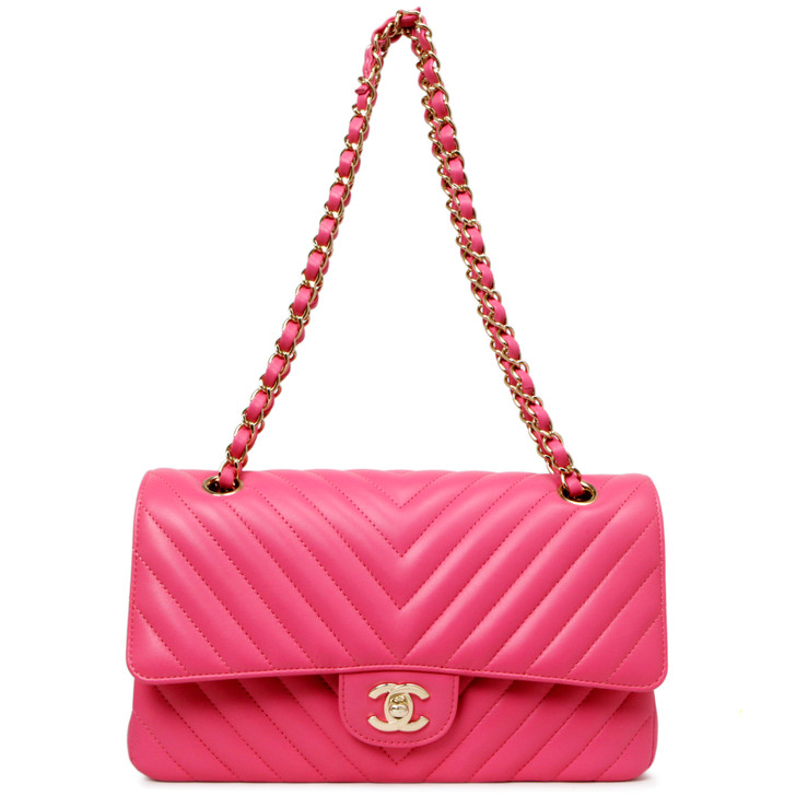 Chanel Pink Chevron Lambskin Medium Classic Double Flap