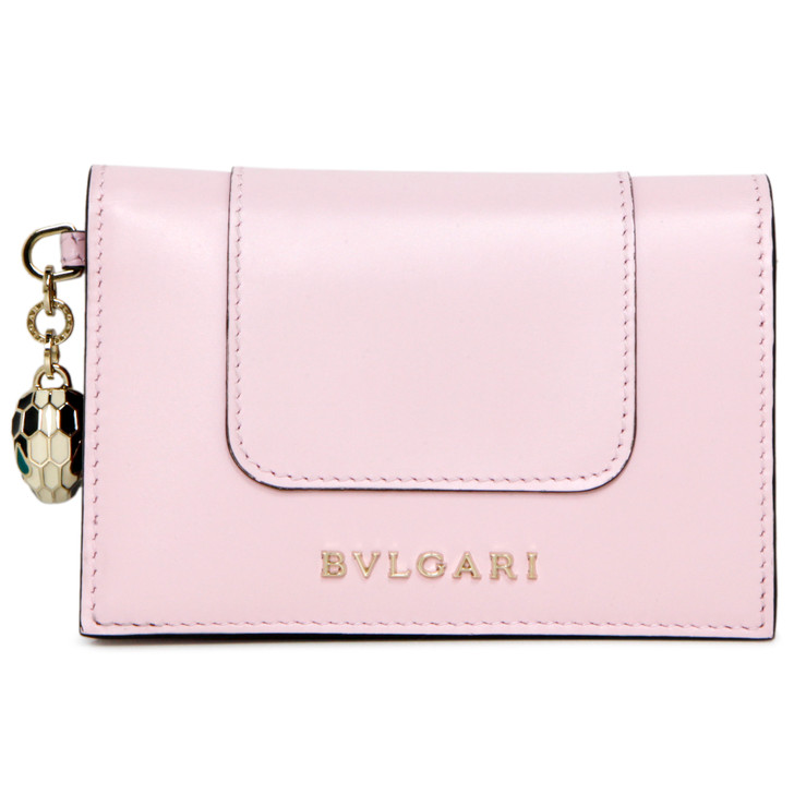Bvlgari Pink Calfskin Serpenti Forever Card Holder