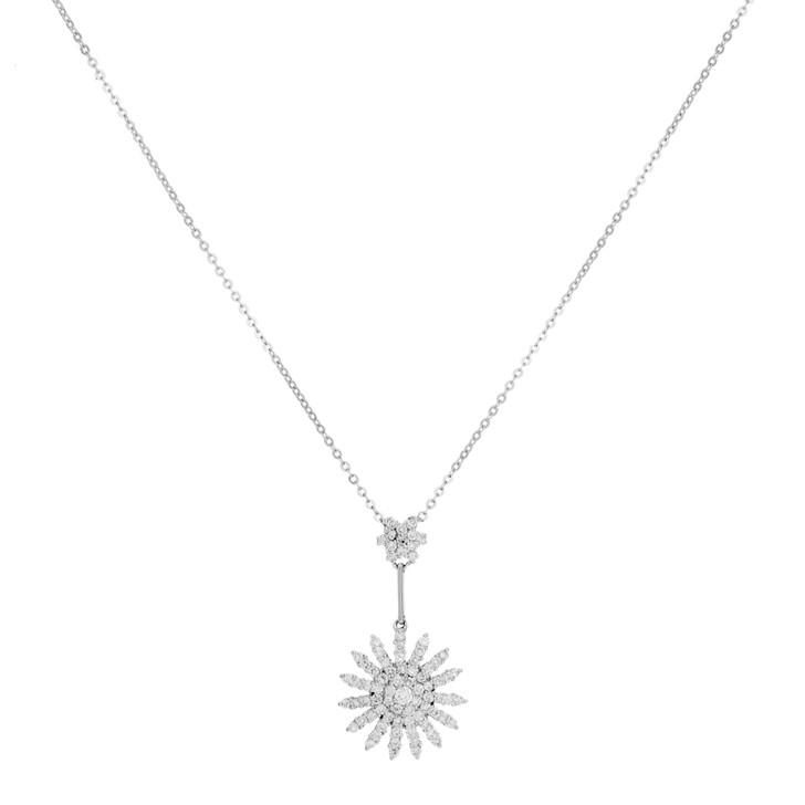 18K White Gold 0.83 Carat Diamond Pendant Necklace