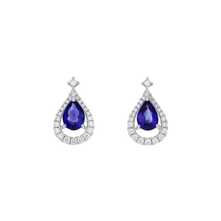 18K White Gold 1.68 Carat Sapphire & Diamond Earrings