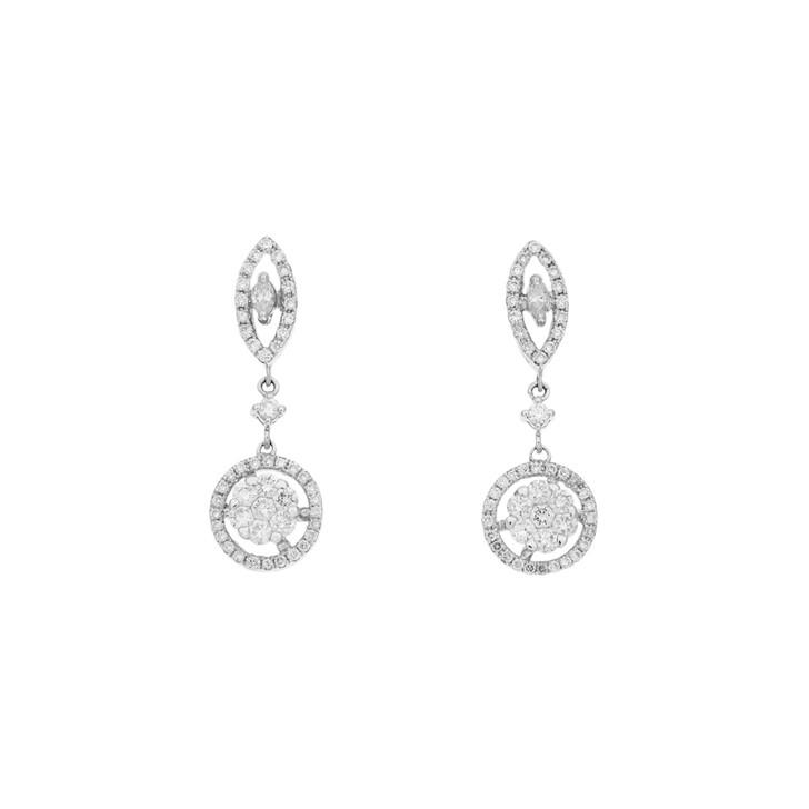 18K White Gold 0.82 Carat Diamond Drop Earrings