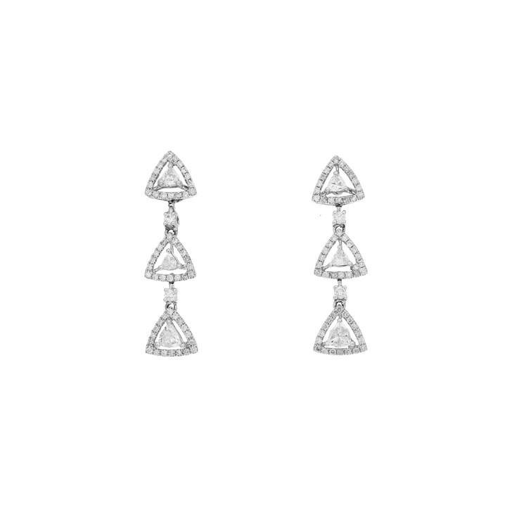 18K White Gold 1.28 Carat Diamond Drop Earrings
