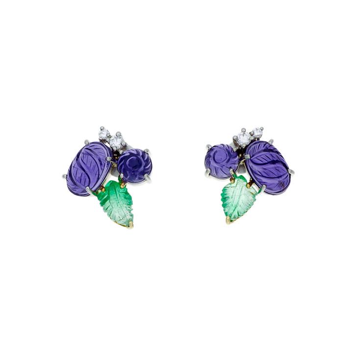 18K White Gold Emerald, Iolite & Diamond Earrings