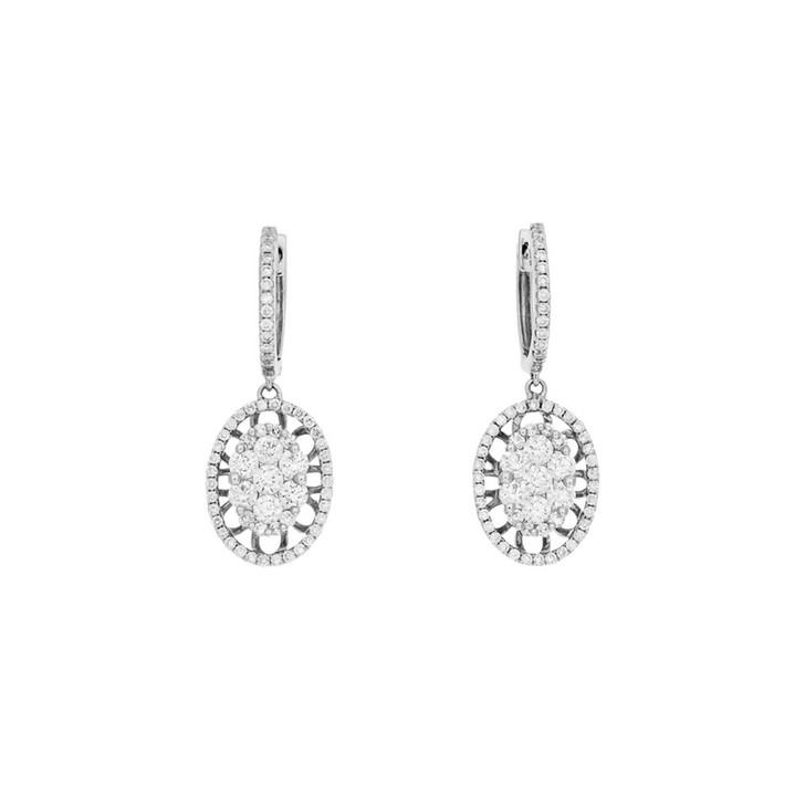 18K White Gold 1.22 Carat Diamond Drop Earrings