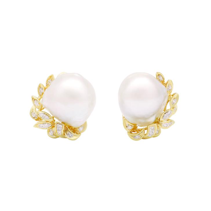 18K Yellow Gold South Sea Pearl 0.28 Carat Diamond Earrings
