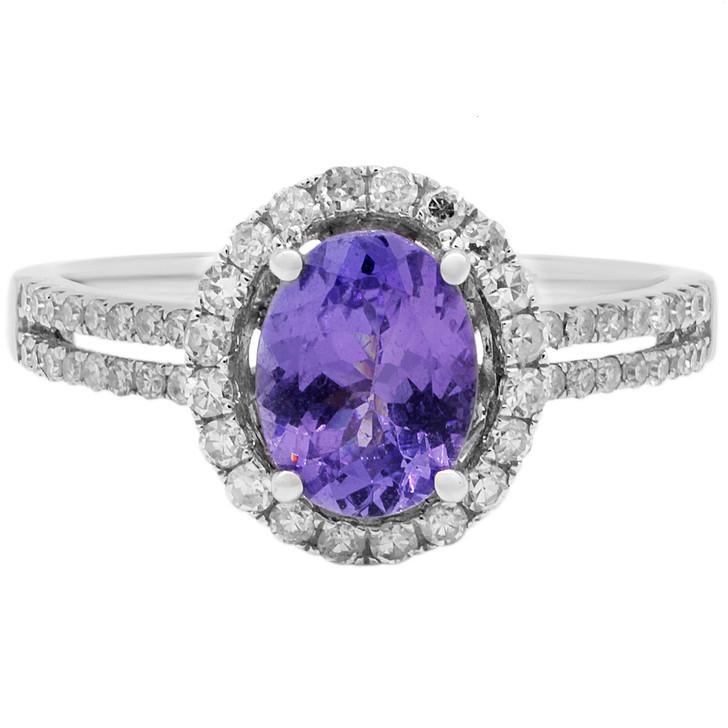 14K White Gold 1.44 Carat Tanzanite Diamond Ring