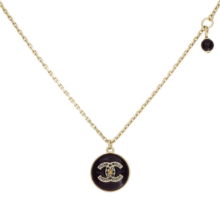 Chanel Black Enamel & Crystal CC Pendant Necklace