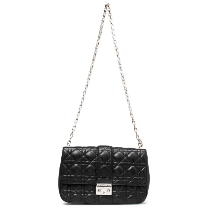 Christian Dior Black Lambskin Cannage Medium Miss Dior  Flap