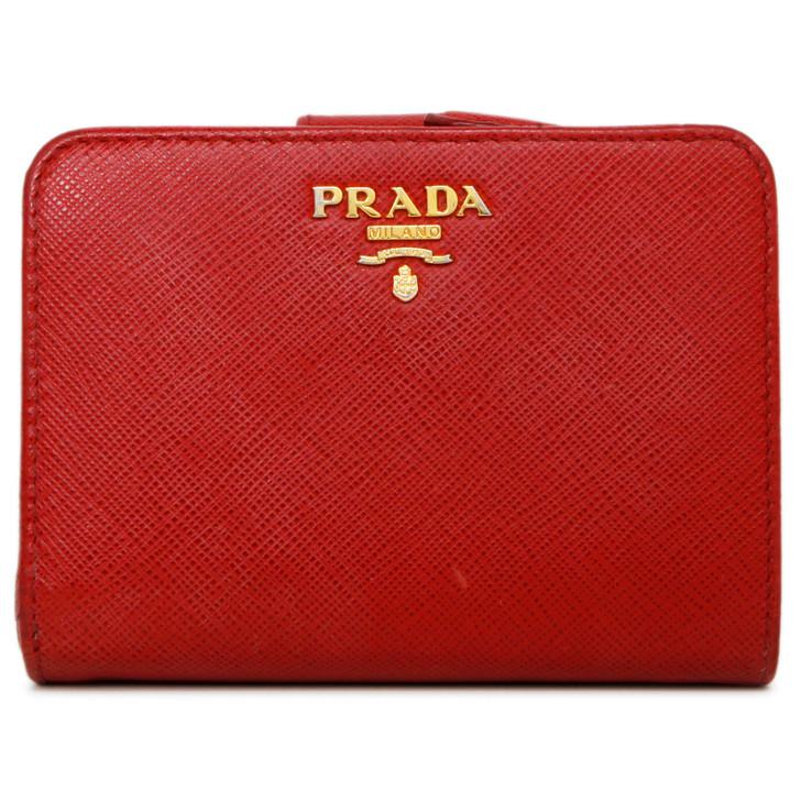 Prada Red Saffiano Compact Wallet