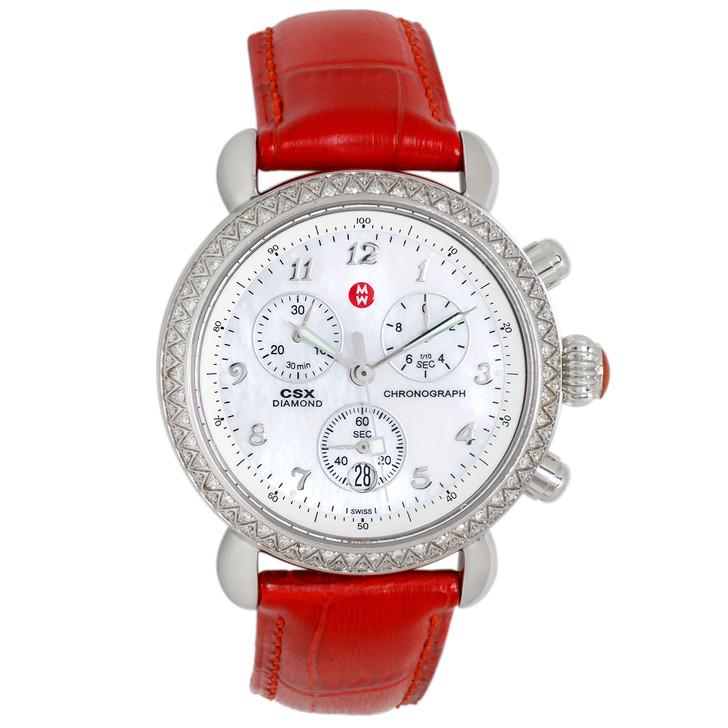 Michele Stainless Steel CSX Diamond Chronograph Quartz Watch