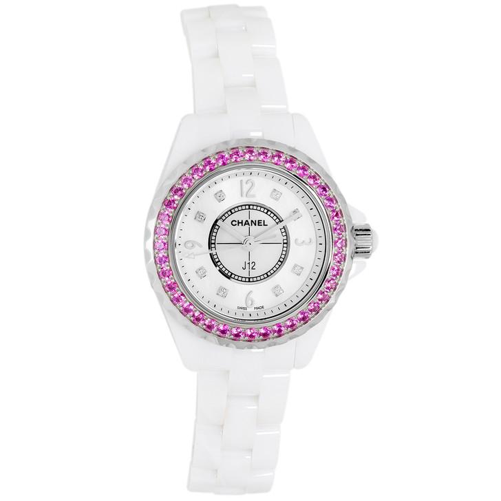 Chanel White Ceramic & Pink Sapphire 29mm Quartz J12 H3243
